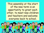 New Term Assembly