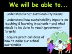 What is a Sustainable School? Primary INSET