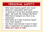 Keeping Myself Safe – Personal Safety