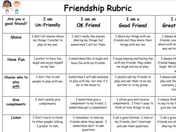 friendship rubric for pshce lesson