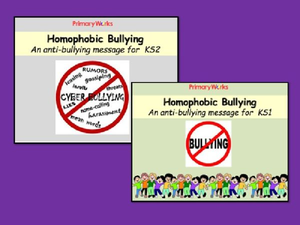 Homophobic bullying PowerPoint and resources for KS1 & KS2 PSHCE lessons  and assembly resources, with lesson plan and worksheets, to help teachers